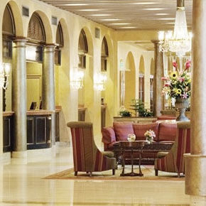 The lobby of the Royal Sonesta hotel in New Orleans